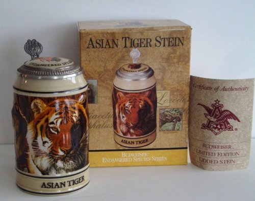 1990 Budweiser Endangered Species Series, Lidded Beer Stein, Asian Tiger