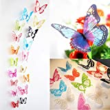ElecMotive 36 Pcs 3D Color Crystal Butterfly Wall Stickers With Adhesive Art Decal Satin Paper Butterflies Home DIY Decor Removable Wall Decor