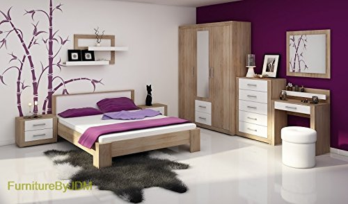 "Bedroom Furniture Set ""VIKI"" Double Bed Frame, Side Night Tables, 3D Wardrobe, Chest Of 5 Drawers, Dressing Table and Wall-mounted Mirror. (Sonoma Oak Light/White Gloss)"
