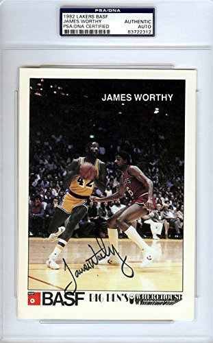 james-worthy-autographed-psa-dna-authenticated-1982-lakers-basf-card-signed-trading-cards