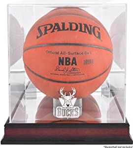 Milwaukee Bucks Mahogany Logo Basketball Display Case with Mirror Back by Mounted Memories