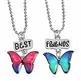Best Friends Necklace 2 Pack, Friendship Glitter Butterflies, Enamel