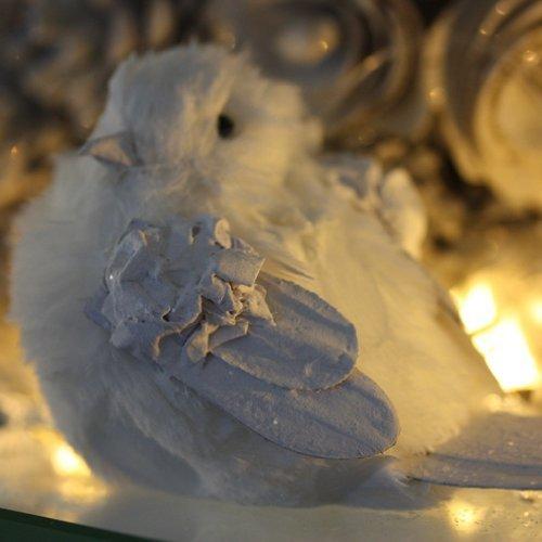 Quirky Plump, glitzernd, weiß mit Vogel, zum Aufhängen, Dekoration