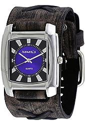 Nemesis #FXBK049D Men's Sunray Rectangular Purple Dial Wide Leather Cuff Band Watch
