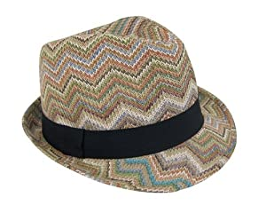 Chevron Straw Fedora Hat for Women from Fashion's Little Helpers