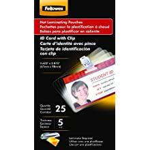 Fellowes Hot Laminating Pouches, ID Tag, Punched with Clip, 5 mil, 25 Pack (52033)