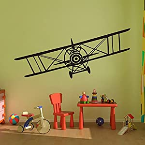 Vinyl airplane wall decal biplane wall for Airplane wall mural