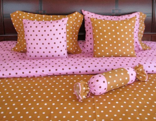 Clearance Sale, 8 Pcs Brown Pink Polka Dot Bed-In-A-Bag Bedding Set Twin Kt231 front-1030595