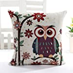HuntGold 1X Owl Linen Cotton Decorati...