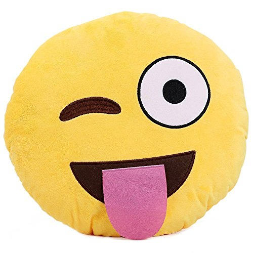 Purchase 1 X Ciamlir Soft Emoji Smiley Emoticon Yellow Round Cushion Pillow Stuffed Plush Toy Doll (...