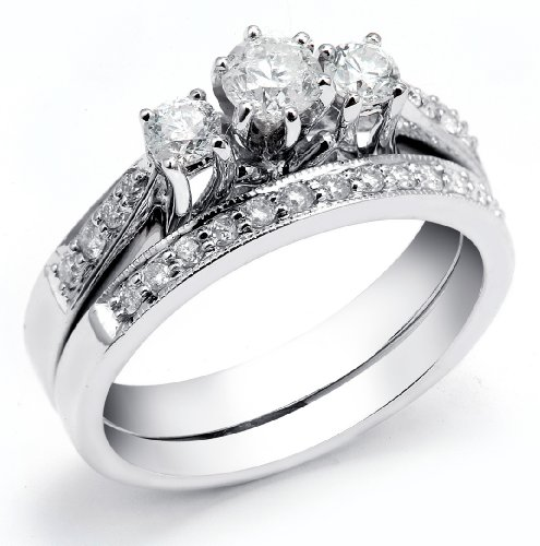 0.85 Carat (ctw) 14k White Gold Round Diamond Ladies 3 Stone Bridal Engagement Ring Matching Wedding Band Set