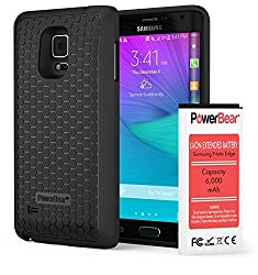PowerBear Samsung Galaxy Note Edge 6000mAh Extended Battery with Back Cover & TPU Protective Case (Up to 2.5X Extra Battery Power) - Black [24 Month Warranty & Screen Protector Included]