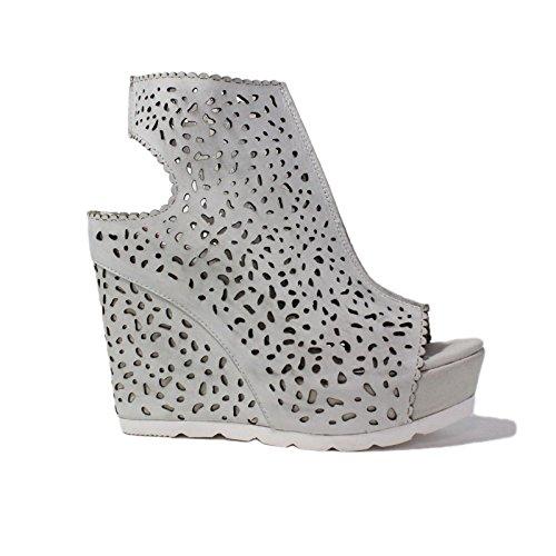 Collection sandale compensées hautes traforata La Femme Plus Tronchetto Gun 21-4 Couleur Blanc New Summer 2015