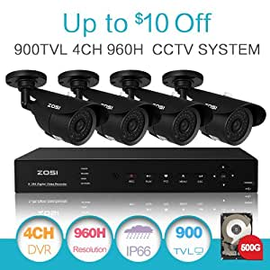 ZOSI HD 960H 900TVL 4PCS CCTV Security