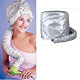 Tinksky Portable Safe Women Hair Dryer Soft Bonnet Hood Attachment Haircare Salon Hairdressing Hat Cap (Silver)