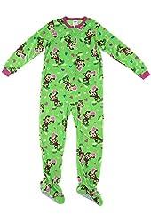 Komar Kids Big Girls' Green Monkey Footed Pajamas