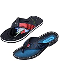 Indistar Boy 100 % PU Flip Flop House Slipper And Sandal-Blue- Pack Of 2 Pairs