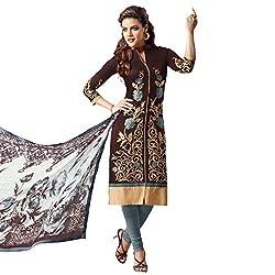 Udantya Women's Chanderi Embroidered Salwar Suit Unstitched Dress Materials (Brown)