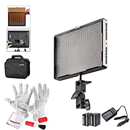 Emgreat Aputure Amaran AL-528W 528 Led Video Light Panel Led Studio Lighting Kit with Rechargeable Batteries Pack and Pergear Clean Kit
