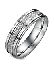 Flongo His 6mm Wide Matte Finished Sparkle Stainless Steel Engagement Wedding Band Rings, Size O