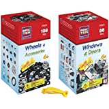 BRICTEK Wheels Kit 108pcs and Windows & Doors Kit 86pcs Building Blocks (Compatible with Legos) with Block Remover