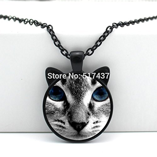 SunShine Day Black Cat Pendant Blue Eye Cat Pendant Cat Ear Jewelry Glass Caboch…