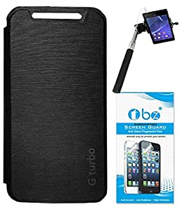 TBZ Flip Cover Case for Motorola Moto G Turbo with Tempered Screen Guard and Selfie Stick Monopod -Black