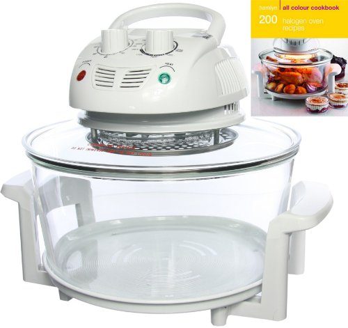 Designer Habitat 12 Litre Premium 1400w Halogen Oven Cooker complete with Extender Ring (to 17 Litre), Lid Holder, Steamer, Frying Pan, Skewers, Low Rack, High Rack, Glove plus FREE 200 page ALL COLOUR Recipe book by Hamlyn RRP £4.99