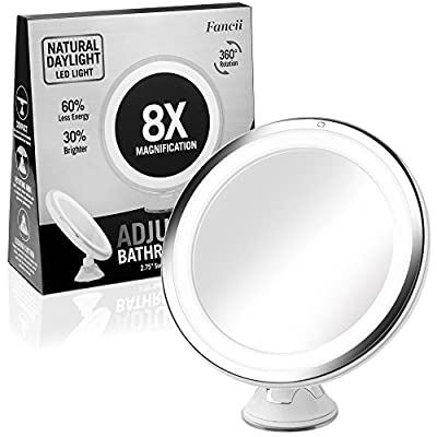 "8x Magnifying LED Lighted Makeup Mirror - Daylight LED Travel Vanity Mirror - Dimmable Light, Cordless, Suction Mount, 360° Rotation, Battery Power, 6"" Wide Portable Illuminated Bathroom Mirror"