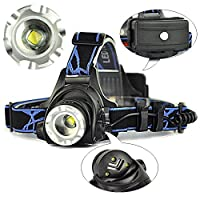 CDC® Ultra Bright 2000 Lumens CREE XM-L T6 LED Headlight Waterproof Zoomable 3 Modes Rechargeable Headlamp for Hiking Camping Climbing Cycling Fishing Security Light by Shenzhen Colorful Digital Technology Co.Ld