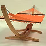 Jumbo Caribbean Hammock and Wood Arc Hammock Stand (Orange)