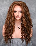 KeeWig Fashion Synthetic Lace Front Wig Long Curly Mix 3 Tone Brown Blonde Auburn ABAU 4/27/30