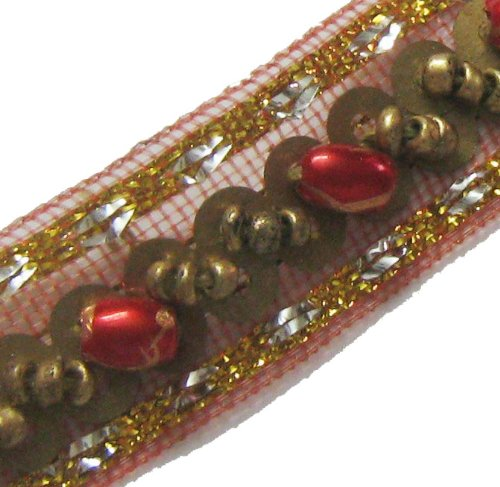 4.5 Yard Copper Red Gold Beaded Trim Ribbon New