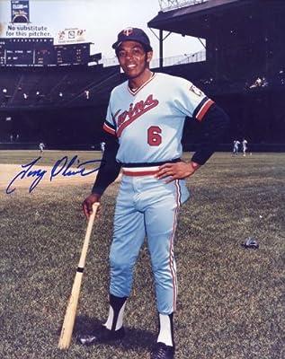 Tony Oliva Autographed/ Original Signed 8x10 Color Photo Showing Him w/ the Minnesota Twins (Pose 5)