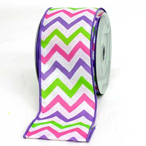 Why Choose Multi-color Wired Edge Poly Chevron Ribbon 2.5 Inch X 10 Yards (Purple/pink/green)