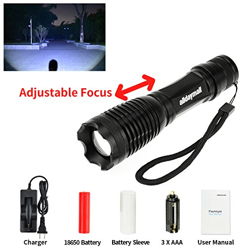 Alldaymall F-927 600 Lumens Zoomable Cree Xm-L
