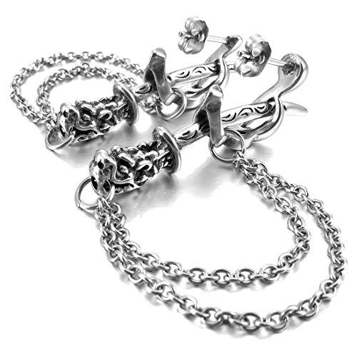 Men'S Stainless Steel Stud Earrings Silver Sword Knife Dagger Dragon Gothic