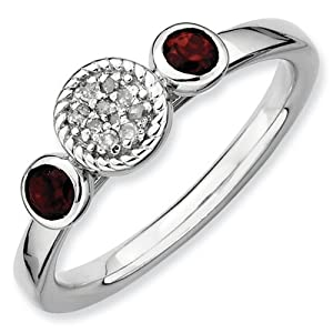 IceCarats Designer Jewelry Size 8 Sterling Silver Stackable Expressions Db Round Garnet Dia. Ring.