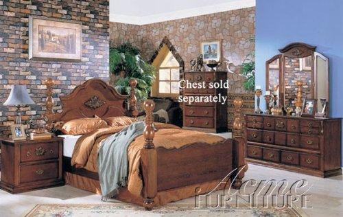 4pc Queen Size Bedroom Set Ponderosa Walnut Finish