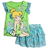 Disney Fairies Toddler Girls 2 Piece Tinkerbell Green Top Floral Scooter Set