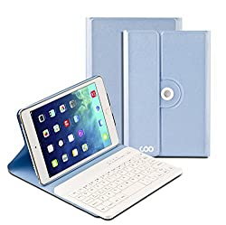 COO iPad Mini 4 Wireless Bluetooth Keyboard Cases for Apple iPad Mini 4 with Lifetime Guarantee and 360 Degree Rotation and Multi-angel Stand Holder (Sky Blue)