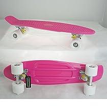 Pk-wt Deluxe Retro Complete Plastic Skateboard Pink Banana Deck