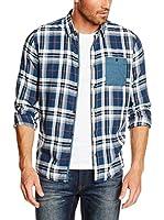 TOM TAILOR Camisa Hombre (Azul)