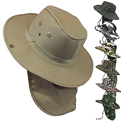 Military Camouflage Boonie Bush Safari Outdoor Fishing Hiking Hunting Boating Snap Brim Hat Sun Cap with Neck Flap