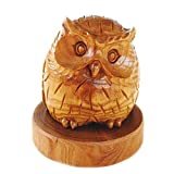 【ノーブランド品】 木彫りのふくろうの置物 槐(えんじゅ)の木 台付 3.5