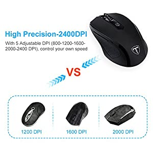 VicTop Wireless Gaming Mouse 2.4G Wireless Mini Mouse for Pro Game Notebook PC Laptop Desktop Computer, 800/1200/1600/2000/2400 Adjustable DPI- Surface Support