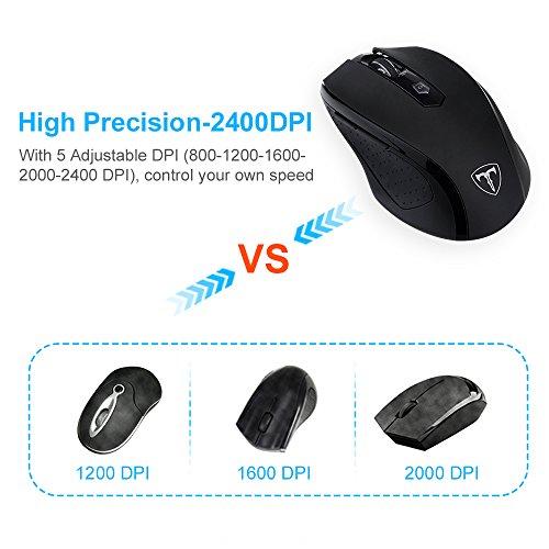Topop 2.4G Mouse Wireless con Ricevitore USB, 6 Pulsanti, 15 Mesi di Durata della Batteria, 5 DPI Regolabili (800, 1200, 1600, 2000, 2400)