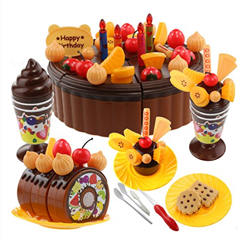 Holy Stone Birthday Cake Play Food Set For Kids With Cutting Knife, Candles & Toppers