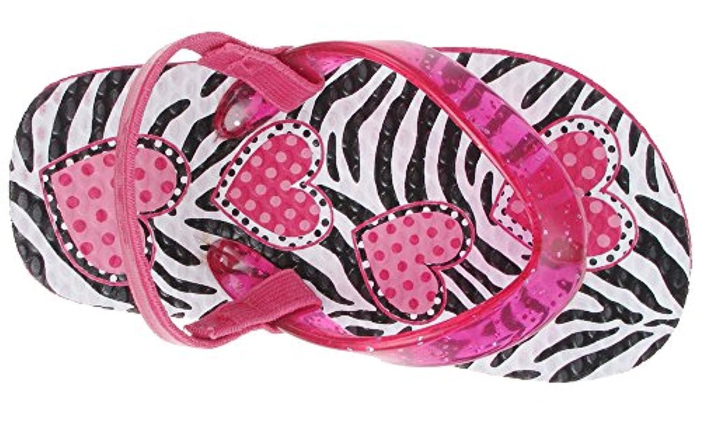 Capelli New York Glitter jelly thong on zebra hearts Toddler Girls Flip Flops Pink Combo 6/7