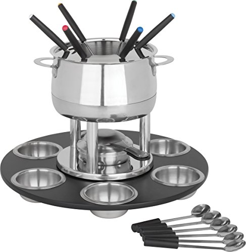 Trudeau Home Presence 23 Piece Stainless-Steel Lazy Susan Fondue Set - 64 Ounce